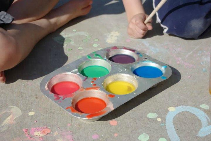 Water Painting Using Sidewalk Chalk