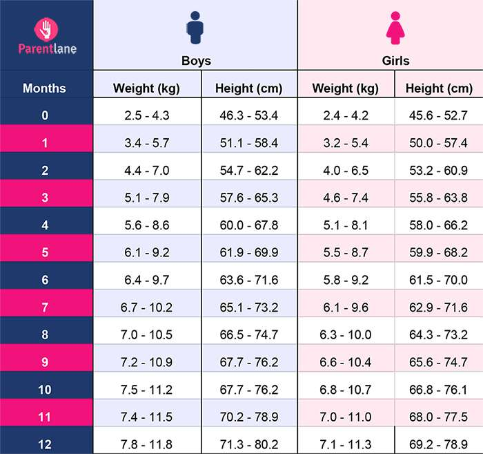 Height and weight chart for indian babies 0 to 12 months